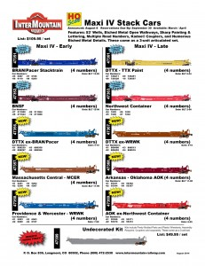 HO Scale Maxi IV Stack Cars BRAN Pacer Stacktrain BNSF DTTX ex-BRAN Pacer Massachusetts Central MCER Providence & Worcester WRWK DTTX TTX Northwest Container DTTX ex-WRWK Arkansas Oklahoma AOK AOK ex-Northwest Container Undecorated Kit