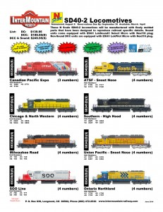 N Scale SD40-2 Locomotives Canadian Pacific Expo Chicago & North Western Milwaukee Road SOO Line Santa Fe ATSF Snoot Nose Southern High Hood Union Pacific Ontario Northland