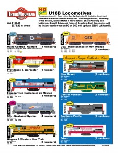 HO U18B Locomotives Maine Central Guilford Providence & Worcester Ferrocarriles Nacionales de Mexico SCL Seaboard System Niagara & Western New York CSX Maintenance of Way New Haven Central Vermont Southern Pacific Frisco