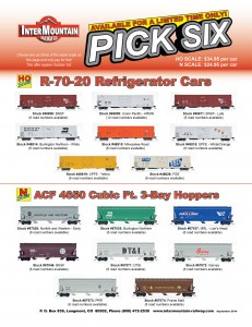 Pick Six HO R-70-20 Refrigerator Cars BNSF Union Pacific ARMN Burlington Northern Milwaukee Road SPFE UPFE FGE ACF 4650 Hoppers Norfolk & Western Burlington Northern MRL DT&I Garvey Pennsylvania PRR Prairie Malt