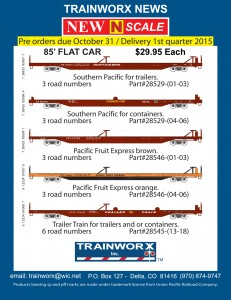 Trainworx N 85' TOFC Flatcars Southern Pacific Pacific Fruit Express PFF Trailer Train