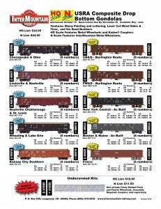 USRA Gondolas Chesapeake & Ohio Louisville & Nashville Nashville Chattanooga & St. Louis Wheeling & Lake Erie Kansas City Southern CB&Q - Burlington Route FW&D Burlington Route New York Central Boston & Maine Frisco Undecorated