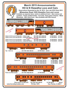 Milwaukee Road Hiawatha Locomotive and Passenger Cars