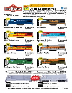 Maine Central Pan Am SPSF Kodachrome Chessie System Burlington Northern Rio Grande Delaware & Hudson Western Pacific Great Northern Undecorated Kit