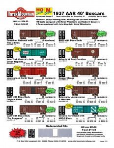 Canadian National New York Central Louisiana & North West Chesapeake & Ohio Baltimore & Ohio Atlantic & East Carolina Copper Range Delaware, Lackawanna & Western Ontario Northland Undecorated Kits