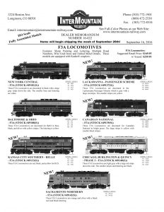 New York Central Baltimore & Ohio Kansas City Southern Lackawanna Canadian National Chicago, Burlington & Quincy Sacramento Northern