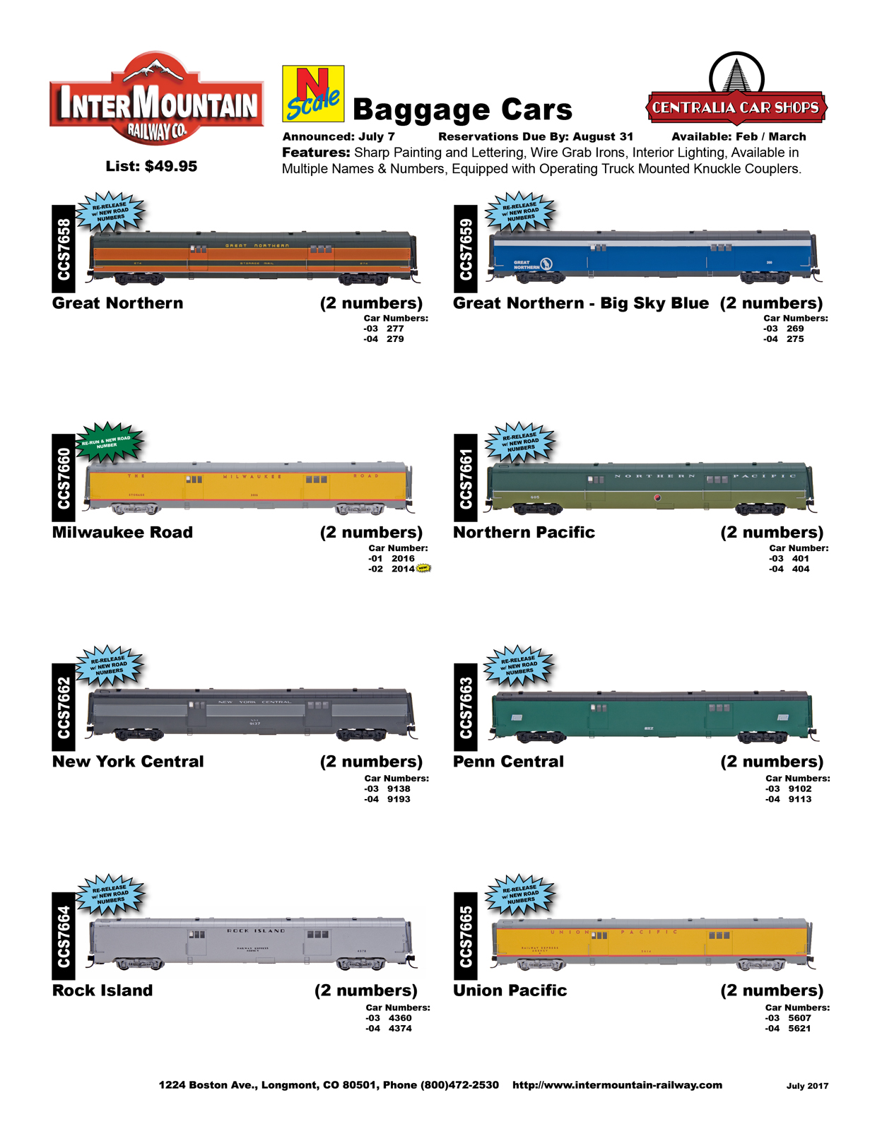 July 2017 Product Announcements Intermountain Modelers Club York Central Wiring Diagram Great Northern Milwaukee Road New Rock Island Pacific Penn Union